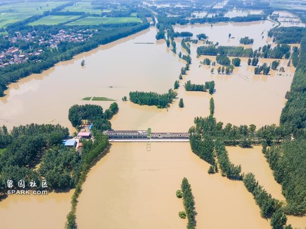 水位逼近10米 周口八大闸孔全开 河面已与田地持平