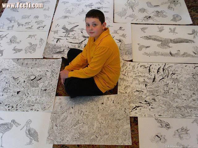 神童不可思议的钢笔画,不像技术活,更像亲眼看到过 同城生活